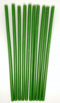 Восковые свечи зеленые 10 штук - 1 час